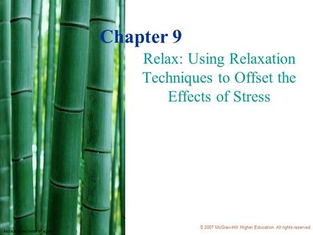 © 2007 McGraw-Hill Higher Education. All rights reserved. Akira Kaede/Getty Images Chapter 9 Relax: Using Relaxation Techniques to Offset the Effects of.