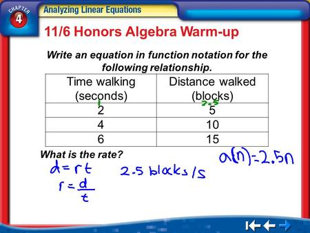 use function notation to write the equation of the line In the last lesson, i showed you how to get the equation of a line given a point and a slope using the formula anytime we need to get the equation of a line, we need two things a point a slope always so, what do we do if we are just given two points and no slope no problem -- we'll just use the two points to pop the slope using this guy:.