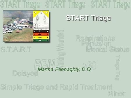 Martha Feenaghty, D.O.. Overview A simple approach Where to START One patient at a time START Triage Algorithm Patient scenarios.