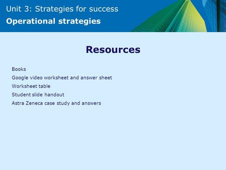 Unit 3: Strategies for success Operational strategies Resources Books Google video worksheet and answer sheet Worksheet table Student slide handout Astra.