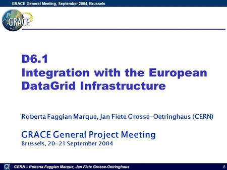 CERN – Roberta Faggian Marque, Jan Fiete Grosse-Oetringhaus GRACE General Meeting, September 2004, Brussels 1 D6.1 Integration with the European DataGrid.