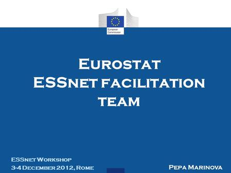 Eurostat ESSnet facilitation team ESSnet Workshop 3-4 December 2012, Rome Pepa Marinova.