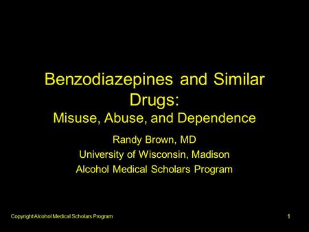 1 Benzodiazepines and Similar Drugs: Misuse, Abuse, and Dependence Randy Brown, MD University of Wisconsin, Madison Alcohol Medical Scholars Program Copyright.
