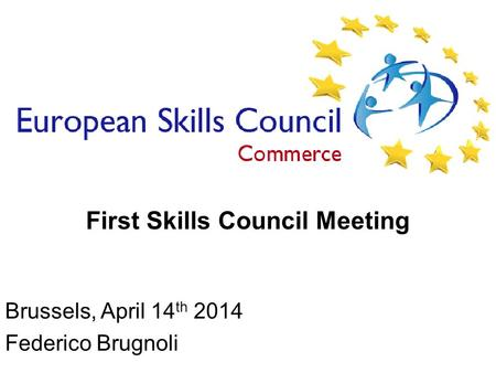 2010/12/10 First Skills Council Meeting Brussels, April 14 th 2014 Federico Brugnoli.