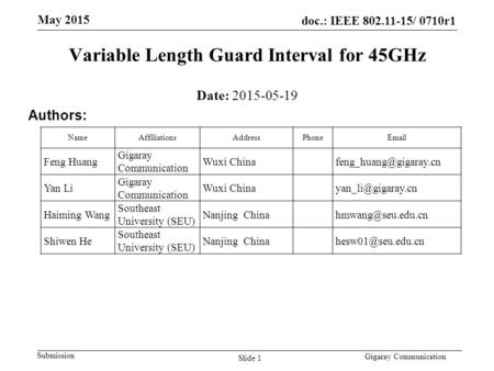 Doc.: IEEE 802.11-15/ 0710r1 Submission May 2015 Gigaray Communication Variable Length Guard Interval for 45GHz Date: 2015-05-19 Authors: NameAffiliationsAddressPhoneEmail.
