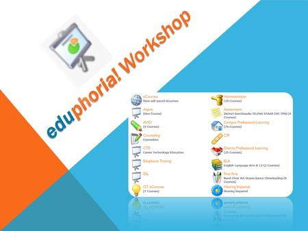 Eduphoria! Workshop. EDUPHORIA! WORKSHOP Responsibilities Course Registration My Portfolio eCourses Training Topics.