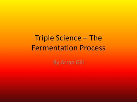 Triple Science – The Fermentation Process By Arran Gill.