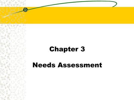 Chapter 3 Needs Assessment. Chapter 3 Introduction Needs Assessment: The process of determining learning needs and opportunities and whether training.