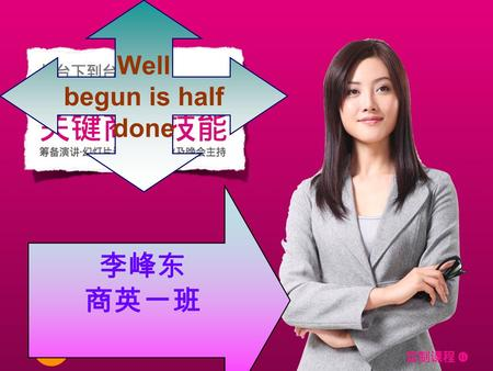 Business Negotiation 商英一班 李峰东 Well begun is half done 李峰东 商英一班.