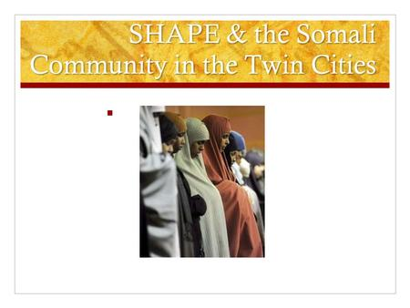 SHAPE & the Somali Community in the Twin Cities. What is SHAPE? Stands for South Hennepin Adult Programs in Education Been in existence for over 25 years.