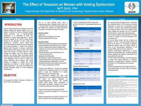 TEMPLATE DESIGN © 2008 www.PosterPresentations.com The Effect of Terazosin on Women with Voiding Dysfunction Ng PY, Tan GI, J Ravi Urogynaecology Unit,