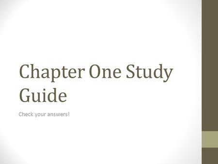 Chapter One Study Guide Check your answers!. Anno Domini The year of our lord.