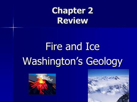 Chapter 2 Review Fire and Ice Washington's Geology.