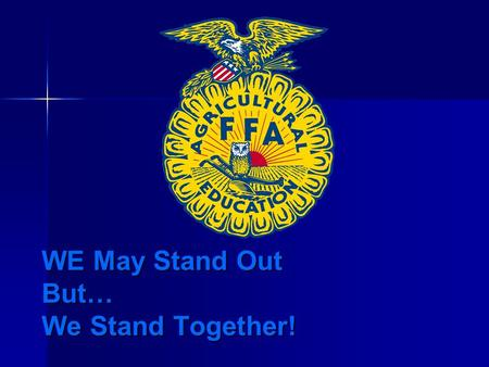 WE May Stand Out But… We Stand Together!. Video Intro….