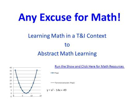 Any Excuse for Math! Learning Math in a T&I Context to Abstract Math Learning Run the Show and Click Here for Math Resources.