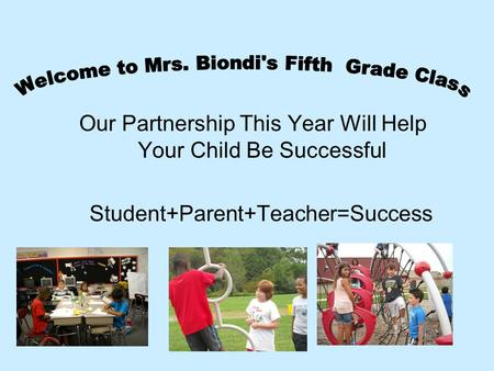 Our Partnership This Year Will Help Your Child Be Successful Student+Parent+Teacher=Success.