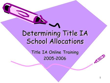 1 Determining Title IA School Allocations Title IA Online Training 2005-2006.