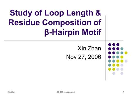 Study of Loop Length & Residue Composition of β-Hairpin Motif