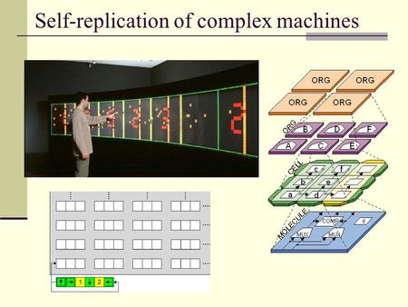 Self-replication of complex machines. Cellular Self-Replication The molecular FPGA is used to CREATE the array of cells in the first place, before differentiation.