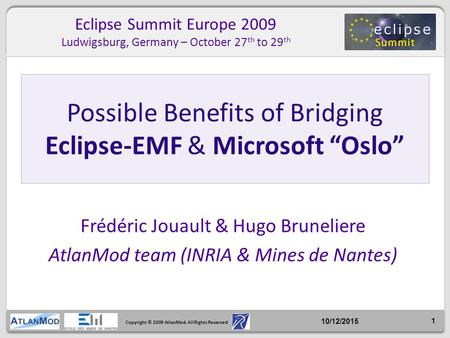 Copyright © 2009 AtlanMod. All Rights Reserved Frédéric Jouault & Hugo Bruneliere AtlanMod team (INRIA & Mines de Nantes) Possible Benefits of Bridging.