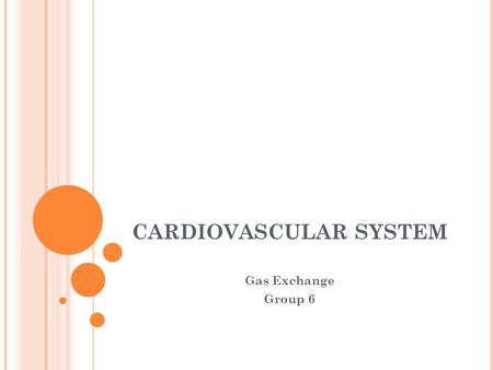 CARDIOVASCULAR SYSTEM Gas Exchange Group 6. GAS EXCHANGE Gas exchange occurs in the lungs in the alveoli The alveoli are tiny sacs in the lungs that are.