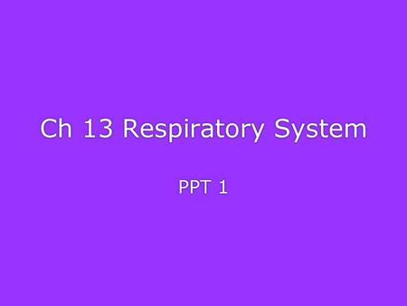 Ch 13 Respiratory System PPT 1 Organs of the Respiratory system Copyright © 2003 Pearson Education, Inc. publishing as Benjamin Cummings.