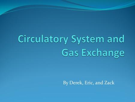 By Derek, Eric, and Zack. Evolution of the Circulatory System and gas exchange: early organisms No circulatory system Gas exchange through direct diffusion.