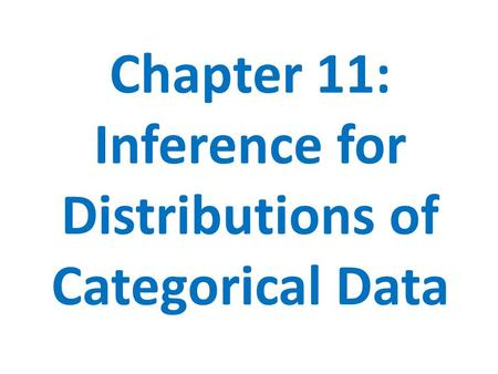 Chapter 11: Inference for Distributions of Categorical Data.