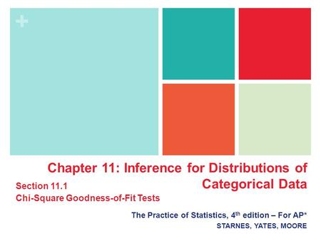 + The Practice of Statistics, 4 th edition – For AP* STARNES, YATES, MOORE Chapter 11: Inference for Distributions of Categorical Data Section 11.1 Chi-Square.