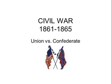 CIVIL WAR 1861-1865 Union vs. Confederate. CAUSES FOR THE WAR Slavery Economic development State rights vs. federal government.