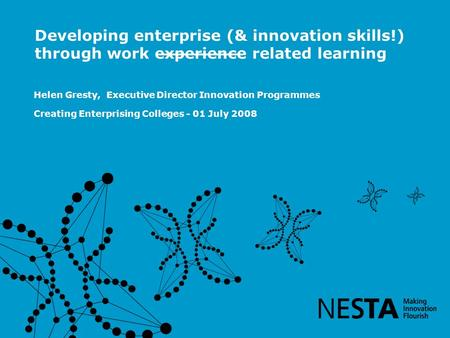 Helen Gresty, Executive Director Innovation Programmes Creating Enterprising Colleges - 01 July 2008 Developing enterprise (& innovation skills!) through.