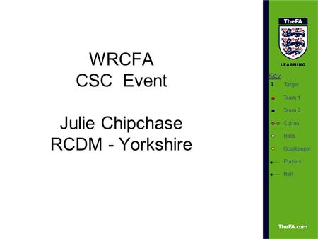 Key Target Team 1 Team 2 Cones Balls Goalkeeper Players Ball T WRCFA CSC Event Julie Chipchase RCDM - Yorkshire.