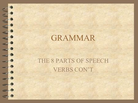GRAMMAR THE 8 PARTS OF SPEECH VERBS CON'T. VERBS 4 Pick out the verb phrases in the following sentences. Watch for the helping verbs. 4 I can understand.