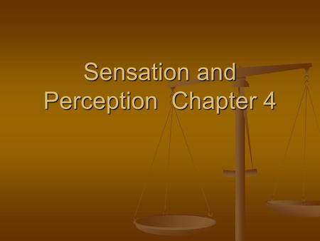 Sensation and Perception Chapter 4. Sensation - the stimulation of sensory receptors and the transmission of sensory information to the central nervous.
