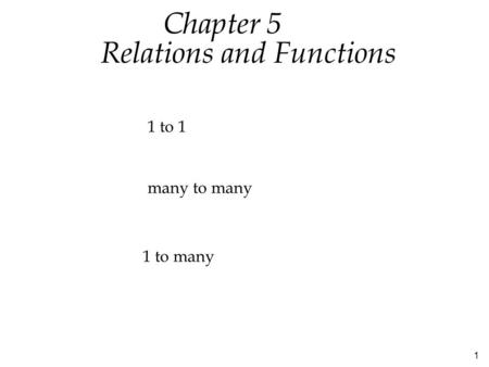 1 Relations and Functions Chapter 5 1 to many 1 to 1 many to many.