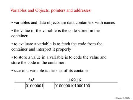 Variables and Objects, pointers and addresses: Chapter 3, Slide 1 variables and data objects are data containers with names the value of the variable is.