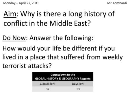 Aim: Why is there a long history of conflict in the Middle East?