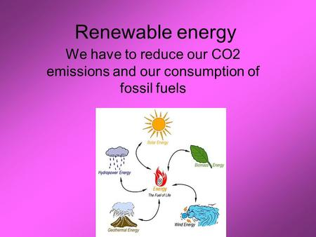Renewable energy We have to reduce our CO2 emissions and our consumption of fossil fuels.