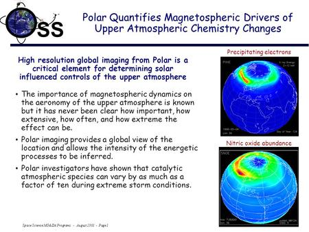Space Science MO&DA Programs - August 2001 - Page 1 SS Polar Quantifies Magnetospheric Drivers of Upper Atmospheric Chemistry Changes High resolution global.