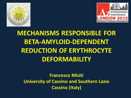 MECHANISMS RESPONSIBLE FOR BETA-AMYLOID-DEPENDENT REDUCTION OF ERYTHROCYTE DEFORMABILITY Francesco Misiti University of Cassino and Southern Lazio Cassino.