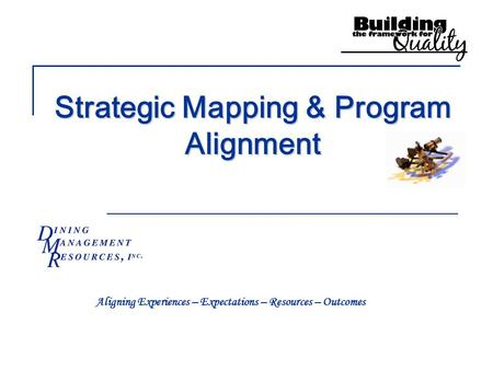 Strategic Mapping & Program Alignment Aligning Experiences – Expectations – Resources – Outcomes.