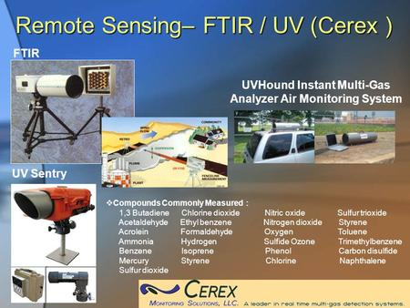 Remote Sensing– FTIR / UV (Cerex ) UV Sentry  Compounds Commonly Measured : 1,3 Butadiene Chlorine dioxide Nitric oxide Sulfur trioxide Acetaldehyde Ethyl.