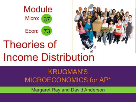 KRUGMAN'S MICROECONOMICS for AP* Theories of Income Distribution Margaret Ray and David Anderson Micro: Econ: 37 73 Module.