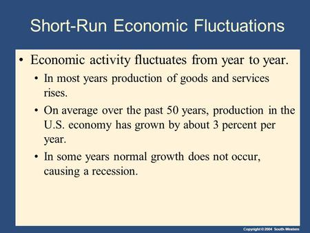 Copyright © 2004 South-Western Short-Run Economic Fluctuations Economic activity fluctuates from year to year. In most years production of goods and services.