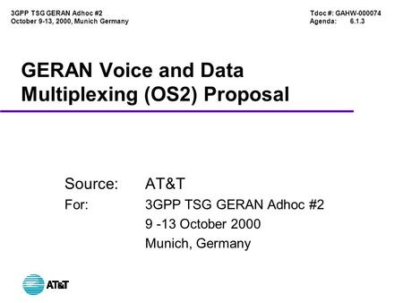 Tdoc #: GAHW-000074 Agenda:6.1.3 3GPP TSG GERAN Adhoc #2 October 9-13, 2000, Munich Germany GERAN Voice and Data Multiplexing (OS2) Proposal Source:AT&T.