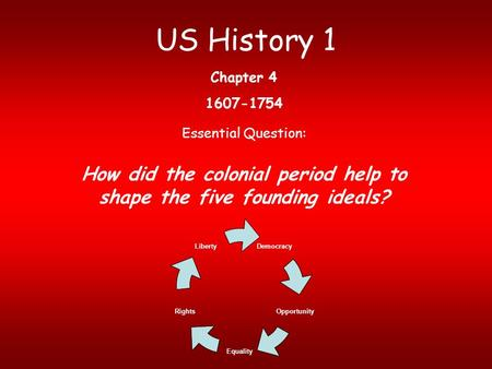 How did the colonial period help to shape the five founding ideals?