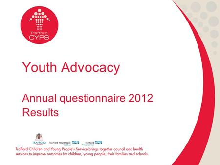 Youth Advocacy Annual questionnaire 2012 Results.
