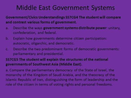 Middle East Government Systems Government/Civics Understandings SS7CG4 The student will compare and contrast various forms of government. a.Describe the.