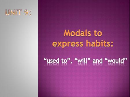 Modals to express habits: