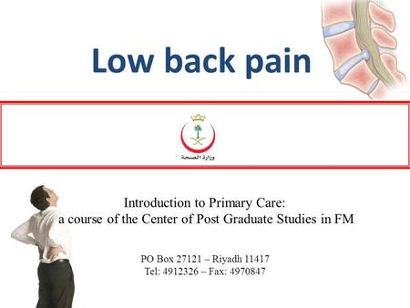 Low back pain Introduction to Primary Care: a course of the Center of Post Graduate Studies in FM PO Box 27121 – Riyadh 11417 Tel: 4912326 – Fax: 4970847.